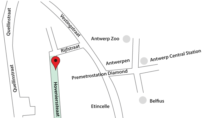 Contact Us | Di Amore map Directions How to get to the Bourse of Diamonds in Antwerp Belgium | Hoe naar de beurse te geraken in Antwerpen Belgie Di Amore Juwelier