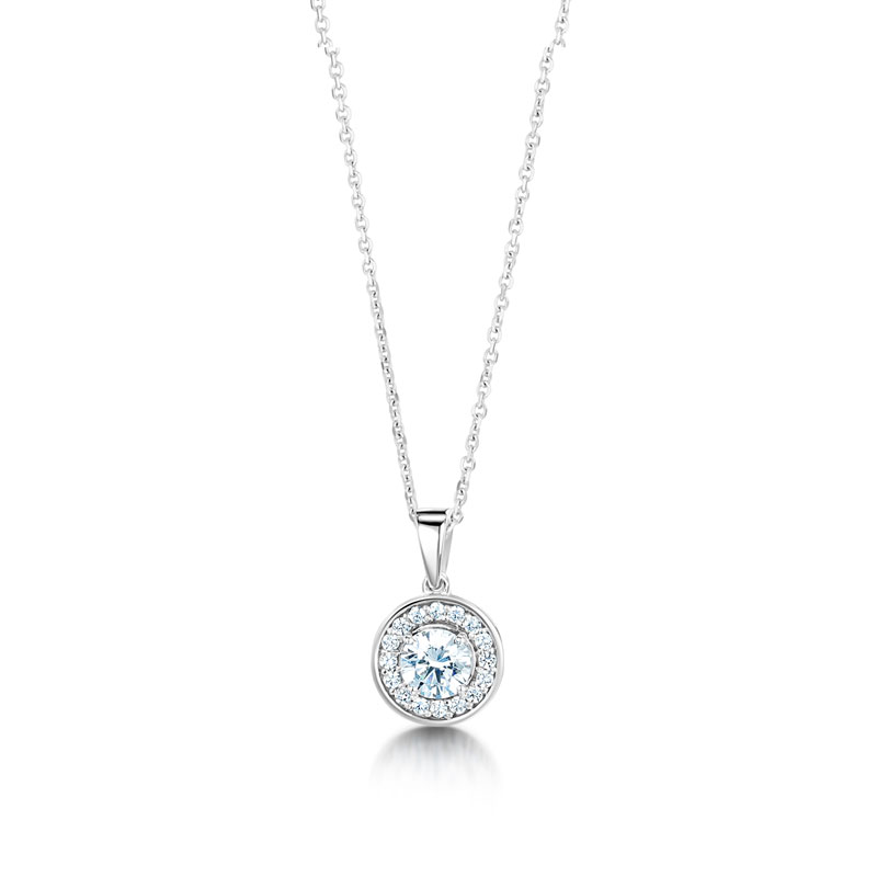 Round halo pendant with bale di amore round halo pendant with bale mozeypictures Gallery