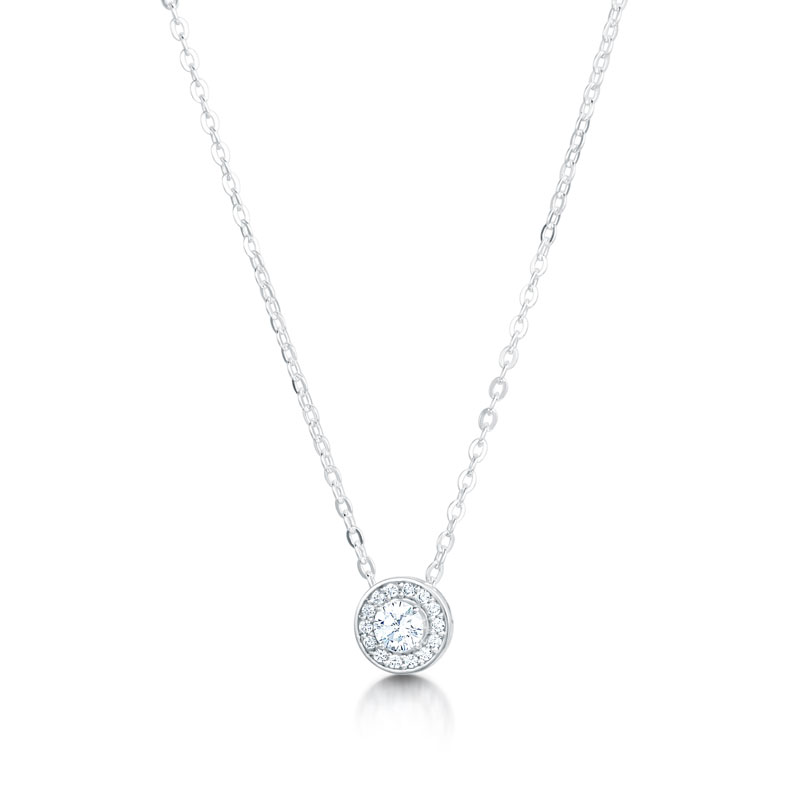 Round halo pendant di amore pendants and necklaces homenecklacesround halo pendant aloadofball Image collections