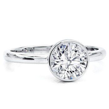 Bezelio Diamond Ring bezel setting halo diamond engagement ring