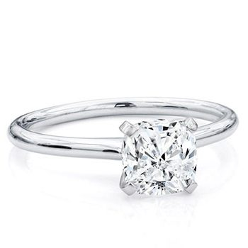 Cushion Cut Diamond set in Solitaire Diamond Ring