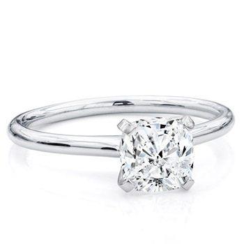 Cushion Cut Diamond set in Solitaire Diamond Ring
