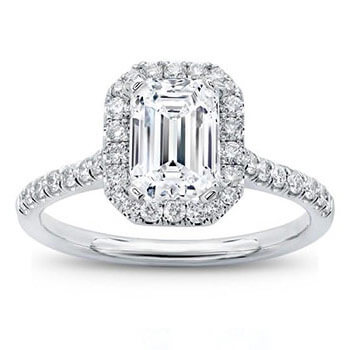 Halo Engagement Ring Soleste Diamond Ring with Diamonds on the shoulders Beautiful Solitaire Diamond Ring Emerald Cut