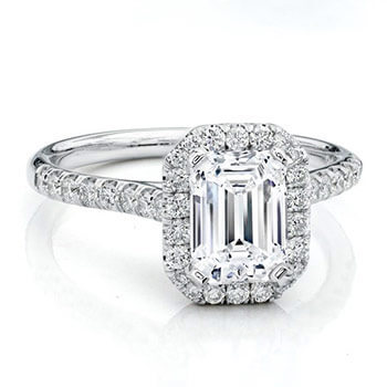 Solitaire Diamond Engagement Ring Emerald Cut Diamond with Halo Diamonds Around