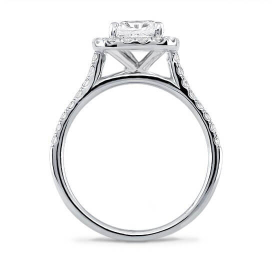 Solitaire Diamond Engagement Ring Cushion Cut Diamond with Halo Diamonds Around