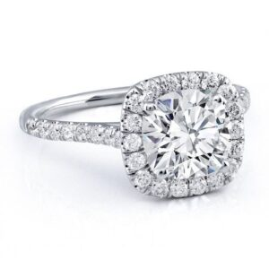 Solitaire Diamond Engagement Ring Cushion Cut Diamond with Halo Diamonds Around