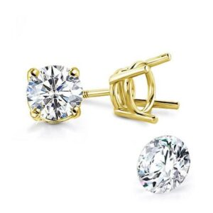 Classic Earrings Round Yellow Klassieke Oorbellen Studs Stud Earrings Yellow White Rose Gold for every day 18k Natural Diamonds