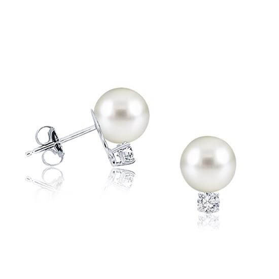 Akoya Pearl Earrings With Diamond Yellow Gold Natural Pearls Parels in Antwerpen Belgie Parel Oorbellen met diamant