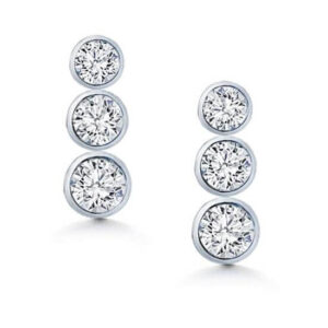 Drop Bevel Setting Earrings Hoops Diamonds white gold