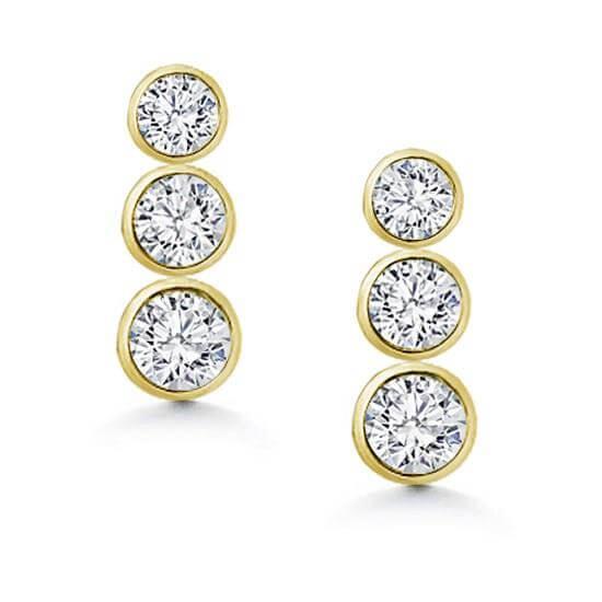Drop Bevel Setting Earrings Hoops Diamonds
