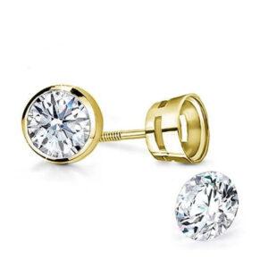 Bevel Setting Earrings Yellow Gold White Gold american setting diamond earrings stud studs earring diamanten oorbellen elkedags zetting simpel simple
