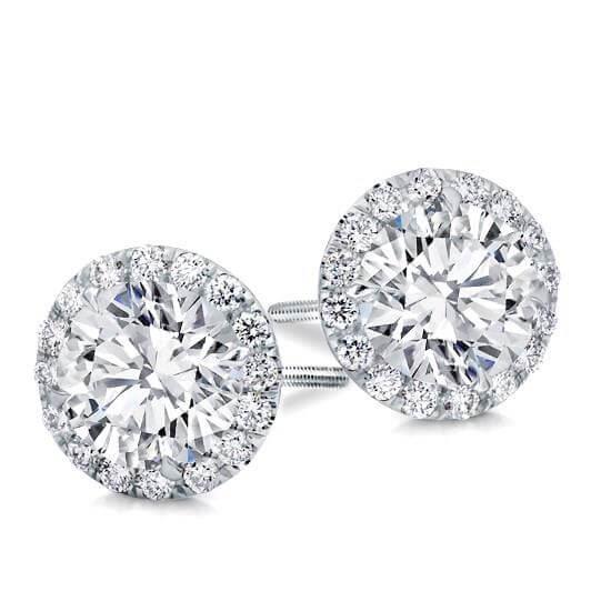 Round Clic Halo Diamond Studs Rose Gold White Yellow Wit Goud Diamanten Oorbellen Klieke