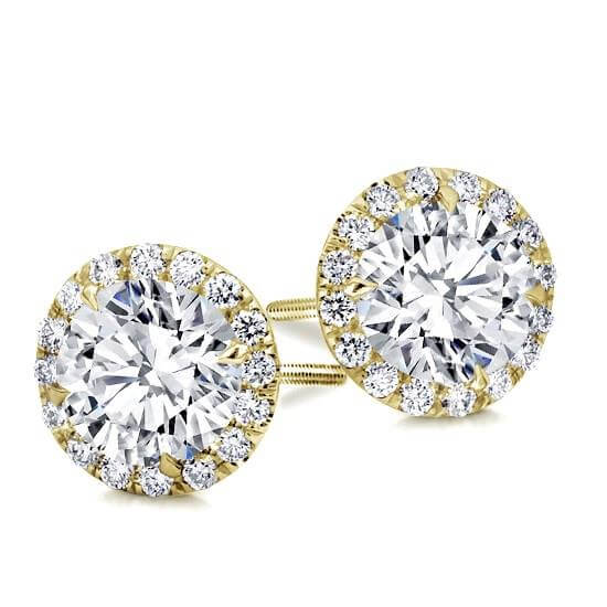 Round Classic Halo Diamond Studs Rose Gold White Yellow Wit Goud Halo Diamanten Oorbellen Klassieke classic stud studs diamonds in Antwerp Belgie Antwerpen Diamanten natural kleine diamanten 1 karat carat