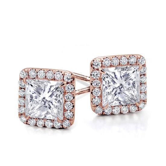 princess princes vierkant Classic Halo Diamond Studs Rose Gold White Yellow Wit Goud Halo Diamanten Oorbellen Klassieke classic stud studs diamonds in Antwerp Belgie Antwerpen Diamanten natural kleine diamanten 1 karat carat