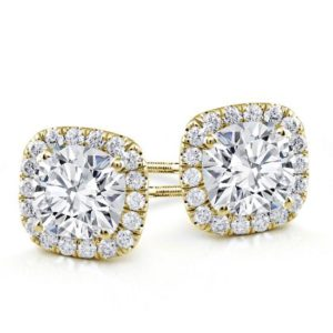 cushion kussen vierkant Classic Halo Diamond Studs Rose Gold White Yellow Wit Goud Halo Diamanten Oorbellen Klassieke classic stud studs diamonds in Antwerp Belgie Antwerpen Diamanten natural kleine diamanten 1 karat carat