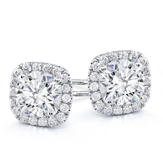 Cushion Kussen Vierkant Clic Halo Diamond Studs Rose Gold White Yellow Wit Goud Diamanten Oorbellen