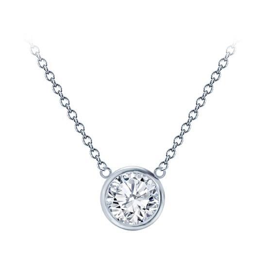 Bevel Setting Pendant Classic Solitaire White Klassieke Pendantief Ketting hals Diamanten collier Yellow Geel Goud 1 karaat carat