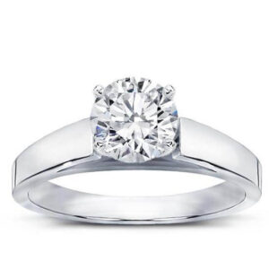 Flat Edge Chunky Cathedral Engagement Style Diamond Ring made in Antwerp Belgium Verlovingsring Di Amore