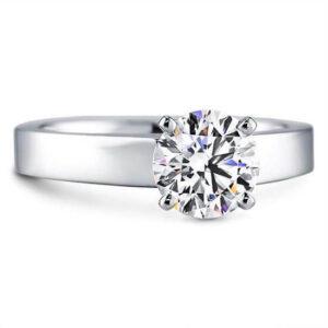 Flat Edge Solitaire Engagement Ring White Gold Classic Straight Diamond Ring Strak