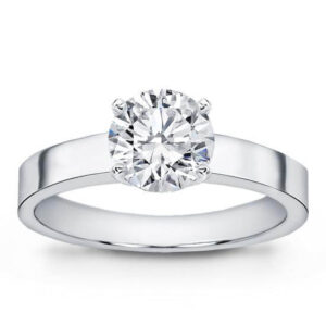 Flat Edge Solitaire Engagement Ring White Gold Classic Straight Diamond Ring Strak