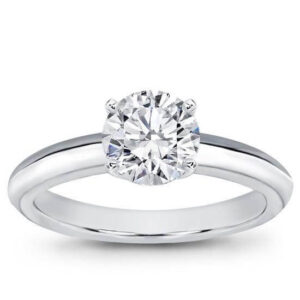 Knife Edge Solitaire Ring with rounded point sides white gold platinum yellow diamond ring