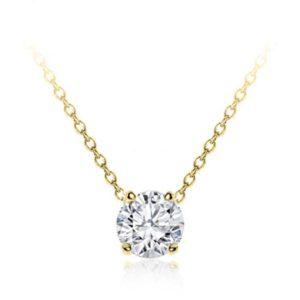 Classic Klassieke zetting simple simpele Setting Pendant Classic Solitaire White Klassieke Pendantief Ketting hals Diamanten collier Yellow Geel Goud 1 karaat carat white gold