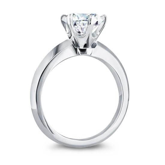Six Prongs Knife Sharp Sides Solitaire Ring Tiffany Style Diamond Ring White Gold Platinum 1 carat Diamond Ring