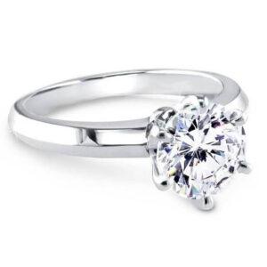 Six Prongs Knife Sharp Sides Solitaire Ring Tiffany Style Diamond Ring White Gold Platinum 1 carat Diamond Ring
