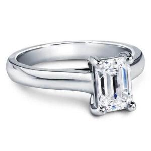 Engagement Ring - Classic Emerald Cut Diamond Ring white Gold 18k Platinum in Antwerp Diamond World Centre