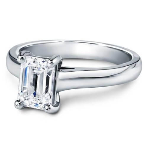 Basket Solitaire For Emerald Cut Diamond White Gold