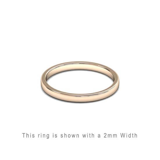 Traditional Double Flat Court Wedding Band Rose Gold 2mm