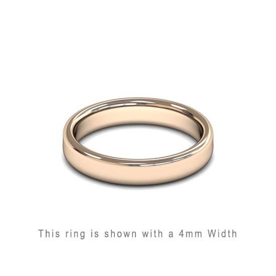 Traditional Double Flat Court Wedding Band Rose Gold 4mm