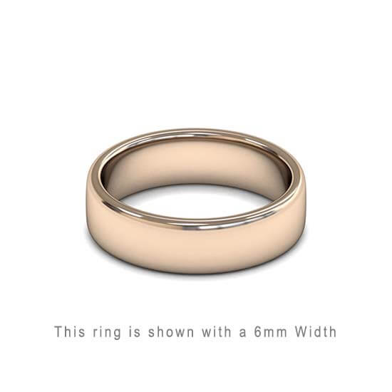 Traditional Double Flat Court Wedding Band Rose Gold 6mm