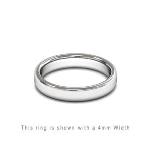Traditional Double Flat Court Wedding Band White Gold 4mm