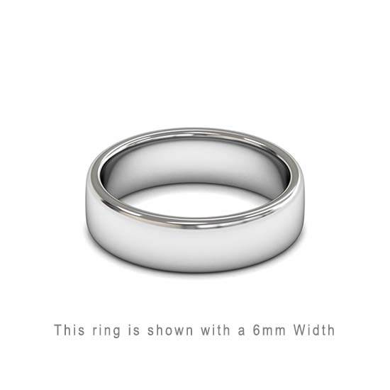 Traditional Double Flat Court Wedding Band White Gold 6mm