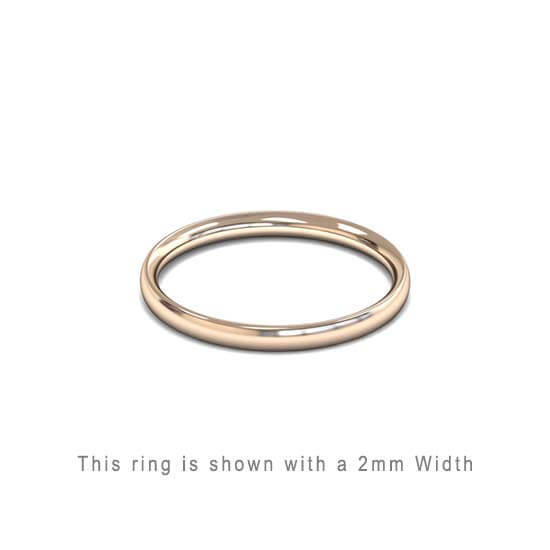 Traditional Wedding Band Rose Gold 2mm Curved 2 Comfort Fit Trouwring Roos Goud Juwelier in Antwerpen