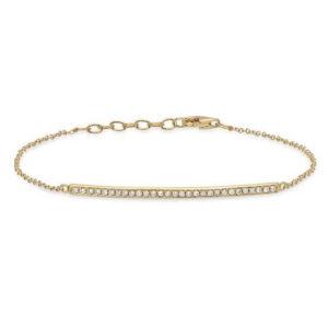 Bracelet Gold Line with Diamonds - Yellow White Rose