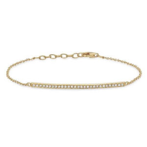 Bracelet Gold Line with Diamonds - Yellow White Rose