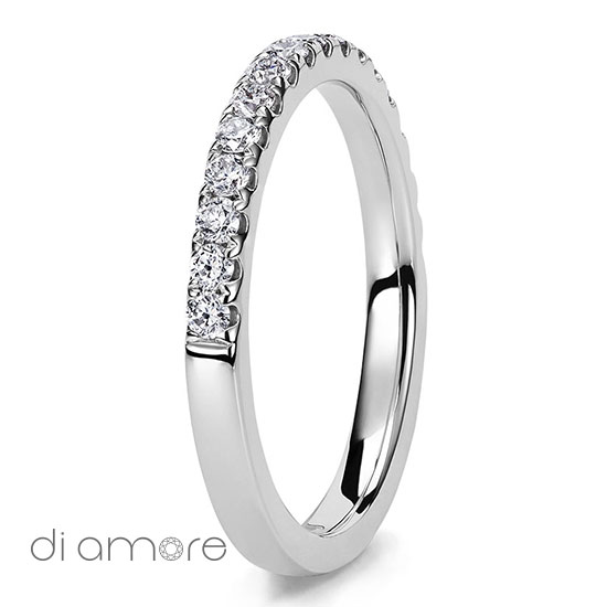 Half Eternity White Diamond white Gold 18k Alliance Eternal Diamond Rings Antwerp Bling medium Ava 2mm