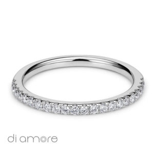 Half Eternity White Diamond white Gold 18k Alliance Eternal Diamond Rings Antwerp Bling thin Ava 1.5mm